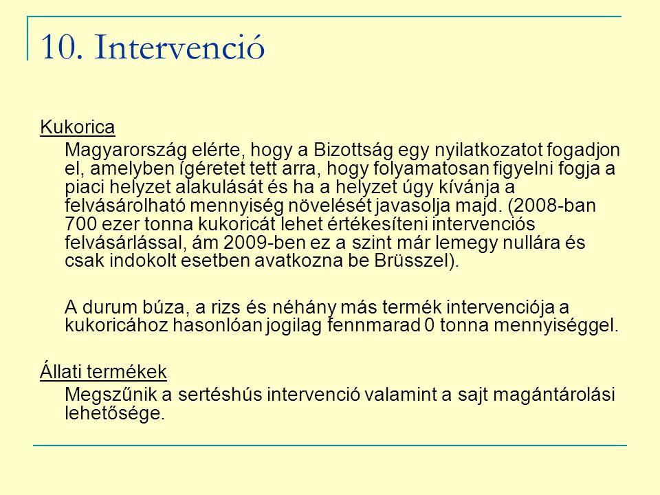 10. Intervenció Kukorica Magyarország elérte, hogy a Bizottság egy nyilatkozatot fogadjon el, amelyben ígéretet tett arra, hogy folyamatosan figyelni