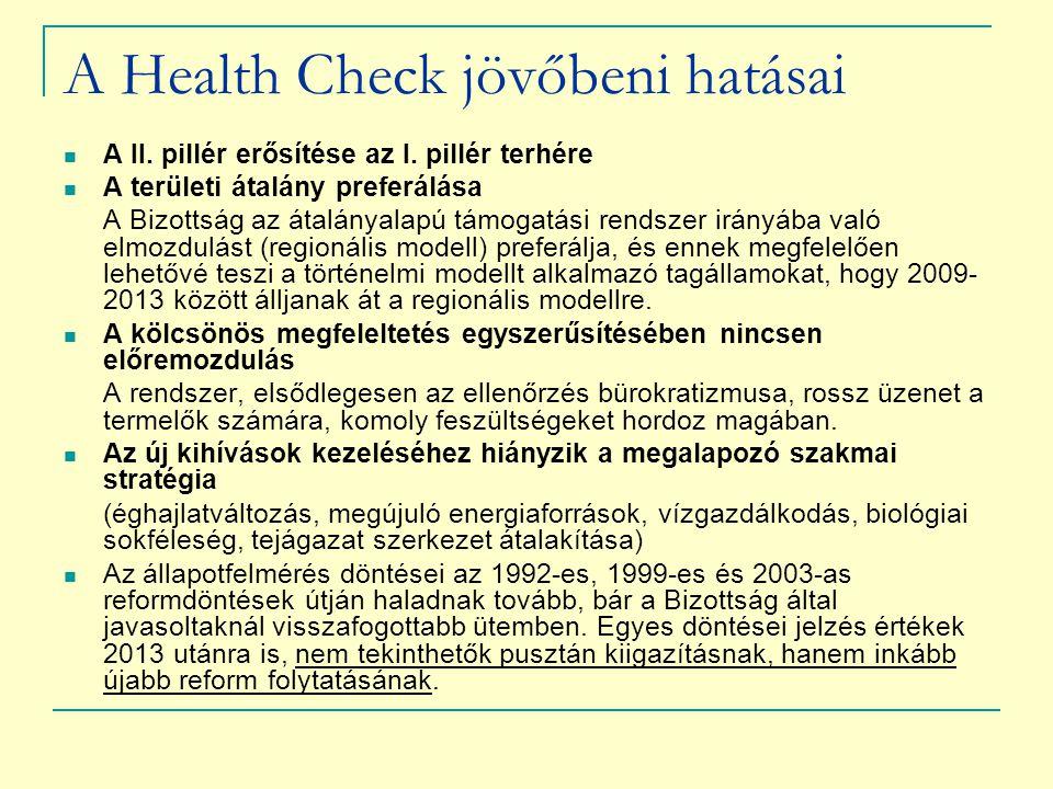 A Health Check jövőbeni hatásai A II. pillér erősítése az I. pillér terhére A területi átalány preferálása A Bizottság az átalányalapú támogatási rend