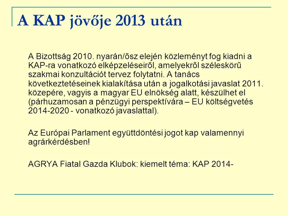 A KAP jövője 2013 után A Bizottság 2010. nyarán/ősz elején közleményt fog kiadni a KAP-ra vonatkozó elképzeléseiről, amelyekről széleskörű szakmai kon