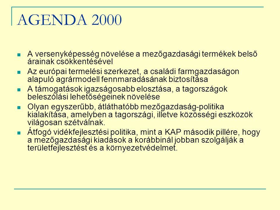 AGENDA 2000 A versenyképesség növelése a mezőgazdasági termékek belső árainak csökkentésével Az európai termelési szerkezet, a családi farmgazdaságon