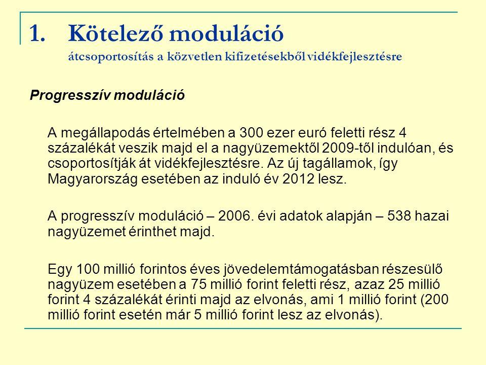 1.Kötelező moduláció átcsoportosítás a közvetlen kifizetésekből vidékfejlesztésre Progresszív moduláció A megállapodás értelmében a 300 ezer euró fele