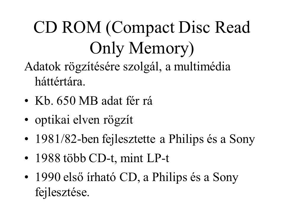 CD ROM (Compact Disc Read Only Memory) Adatok rögzítésére szolgál, a multimédia háttértára. Kb. 650 MB adat fér rá optikai elven rögzít 1981/82-ben fe