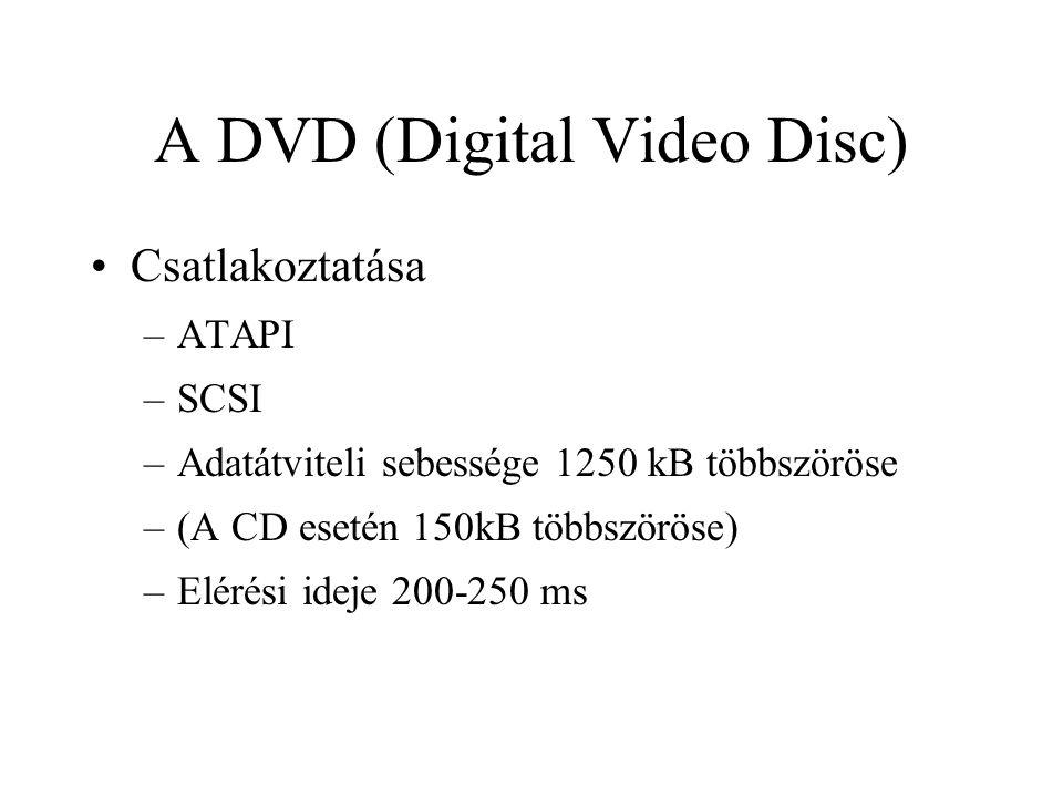 A DVD (Digital Video Disc) Csatlakoztatása –ATAPI –SCSI –Adatátviteli sebessége 1250 kB többszöröse –(A CD esetén 150kB többszöröse) –Elérési ideje 20