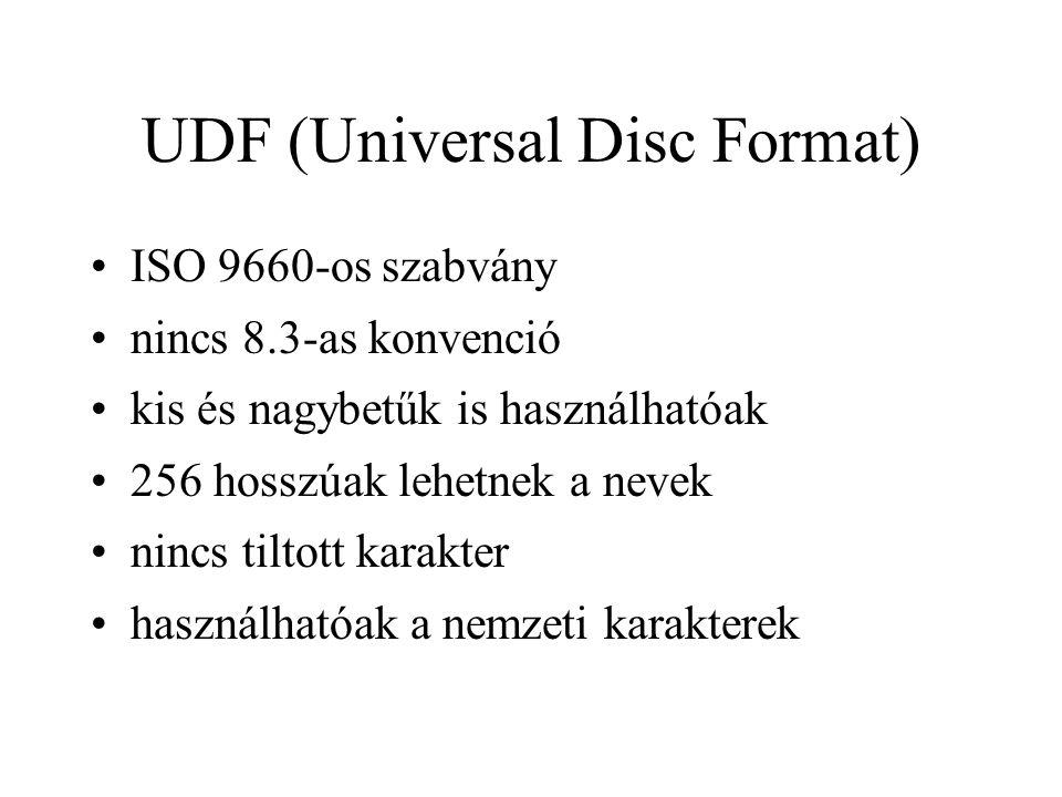UDF (Universal Disc Format) ISO 9660-os szabvány nincs 8.3-as konvenció kis és nagybetűk is használhatóak 256 hosszúak lehetnek a nevek nincs tiltott