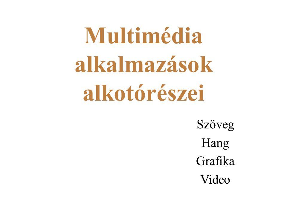 Multimédia alkalmazások alkotórészei Szöveg Hang Grafika Video