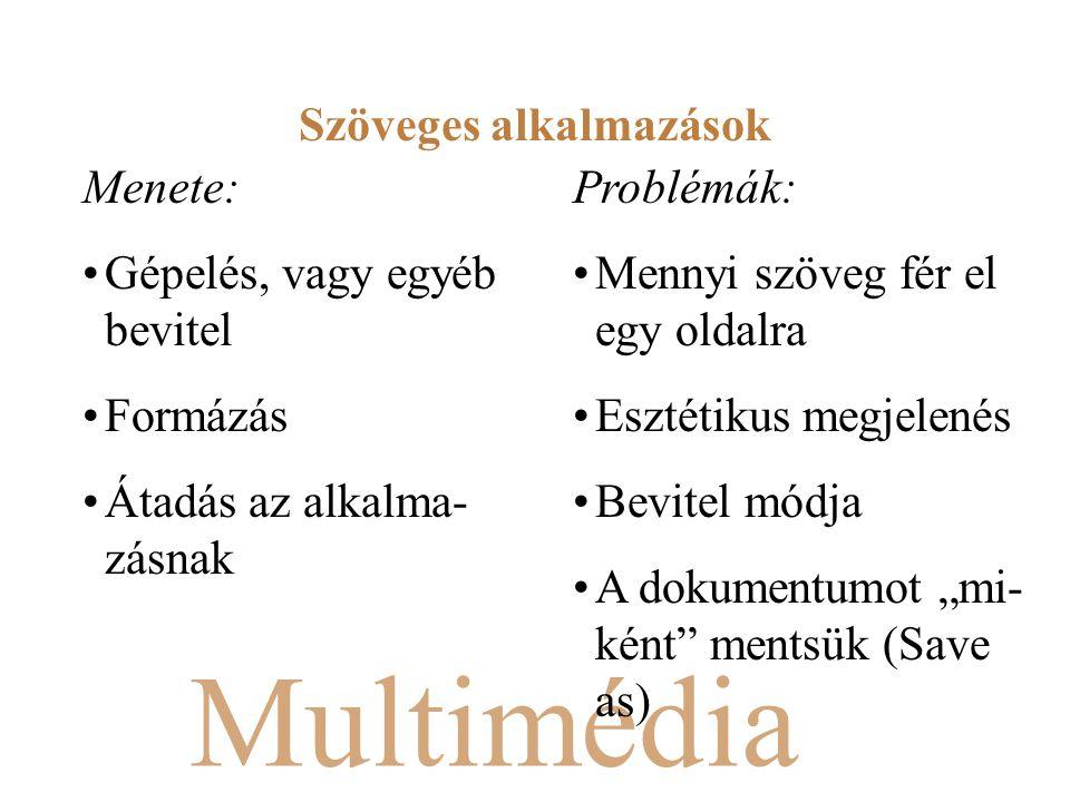 """Multimédia Menete: Gépelés, vagy egyéb bevitel Formázás Átadás az alkalma- zásnak Problémák: Mennyi szöveg fér el egy oldalra Esztétikus megjelenés Bevitel módja A dokumentumot """"mi- ként mentsük (Save as) Szöveges alkalmazások"""