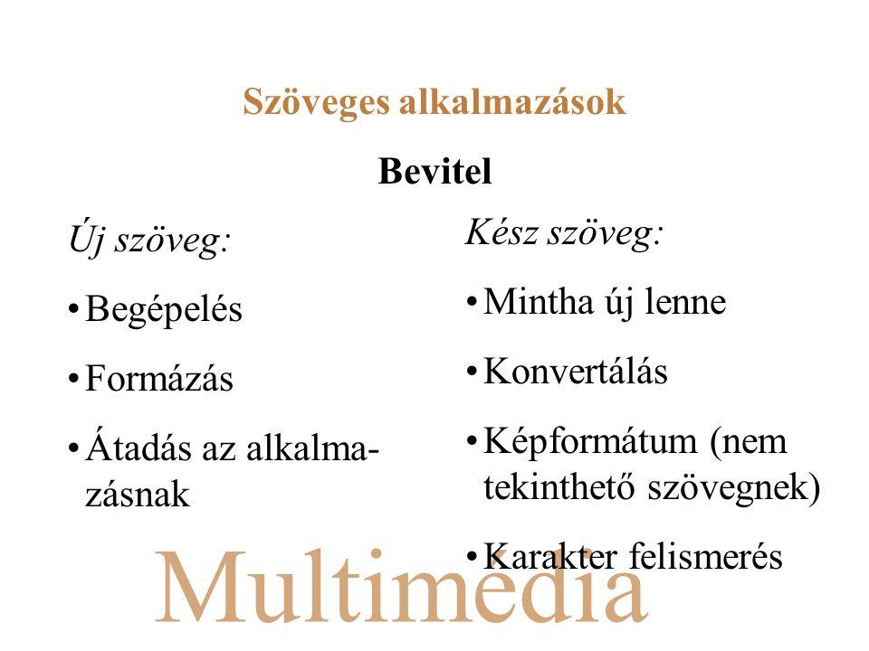 Multimédia Új szöveg: Begépelés Formázás Átadás az alkalma- zásnak Kész szöveg: Mintha új lenne Konvertálás Képformátum (nem tekinthető szövegnek) Karakter felismerés Szöveges alkalmazások Bevitel