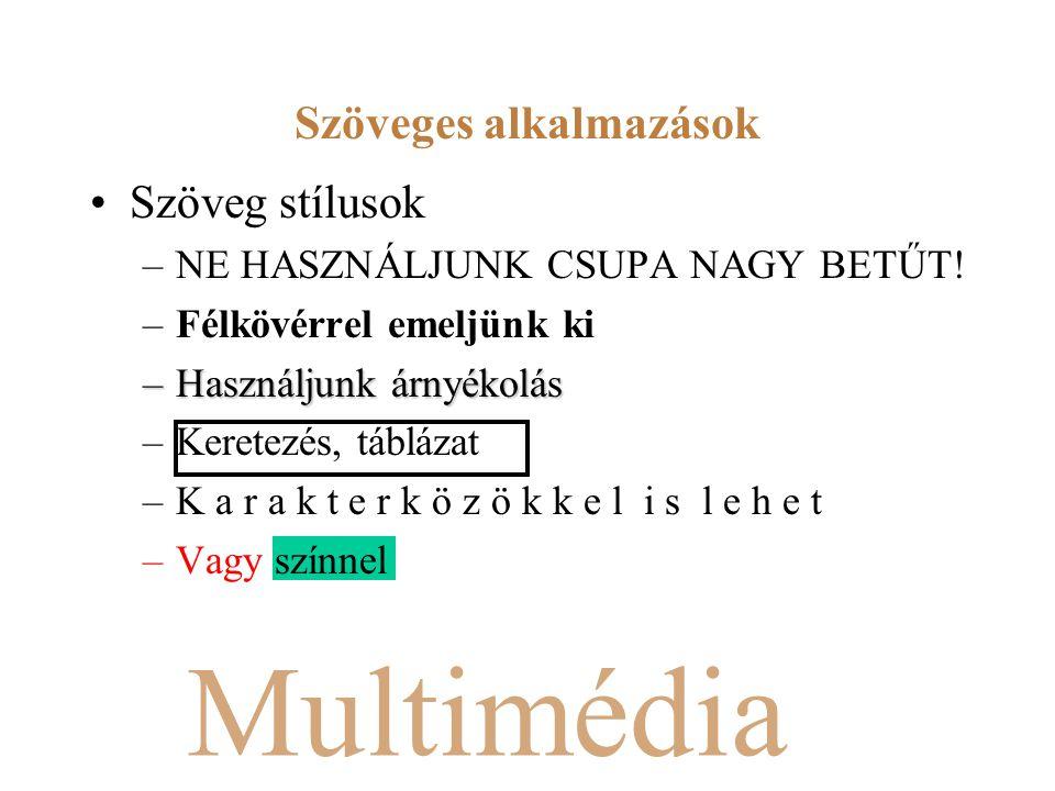 Multimédia Szöveg stílusok –NE HASZNÁLJUNK CSUPA NAGY BETŰT.