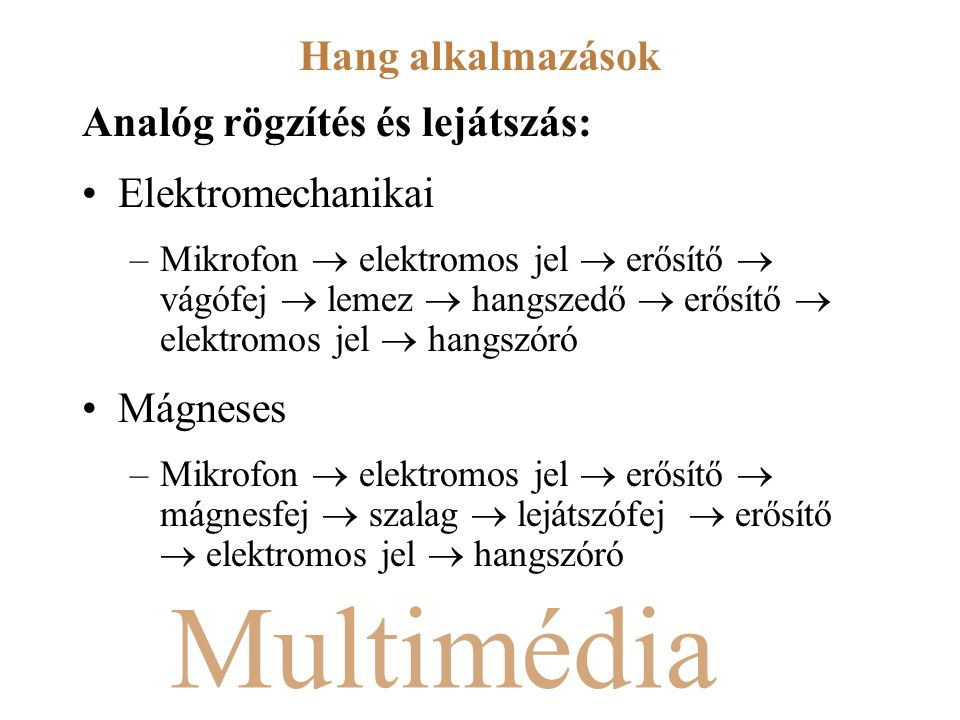 Multimédia Analóg rögzítés és lejátszás: Elektromechanikai –Mikrofon  elektromos jel  erősítő  vágófej  lemez  hangszedő  erősítő  elektromos j