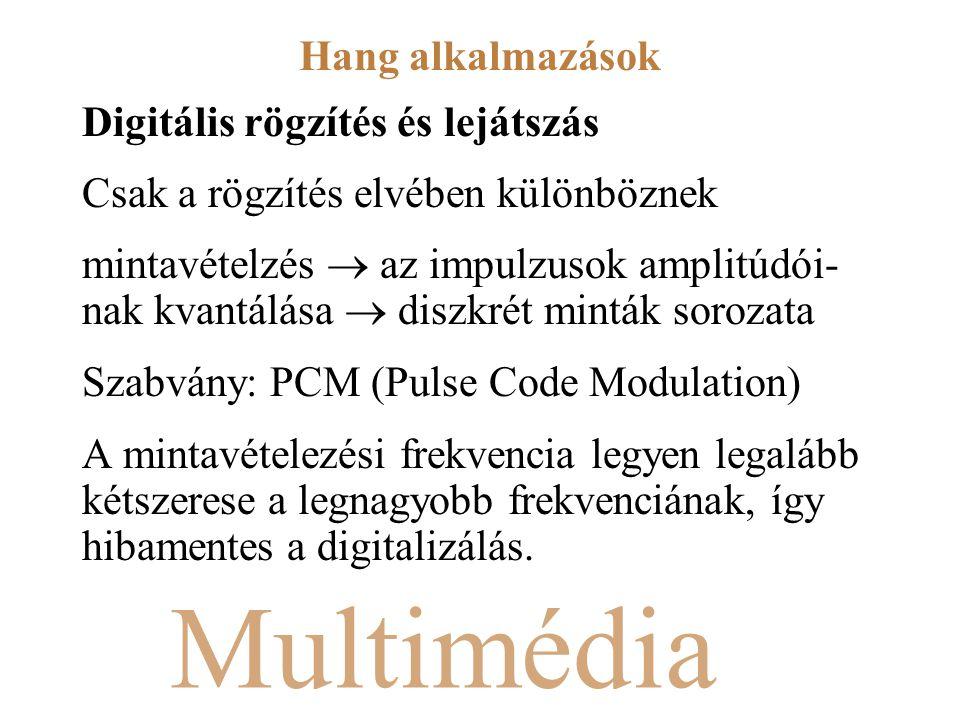 Multimédia Digitális rögzítés és lejátszás Csak a rögzítés elvében különböznek mintavételzés  az impulzusok amplitúdói- nak kvantálása  diszkrét minták sorozata Szabvány: PCM (Pulse Code Modulation) A mintavételezési frekvencia legyen legalább kétszerese a legnagyobb frekvenciának, így hibamentes a digitalizálás.