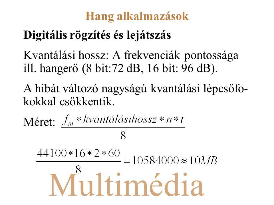 Multimédia Digitális rögzítés és lejátszás Kvantálási hossz: A frekvenciák pontossága ill. hangerő (8 bit:72 dB, 16 bit: 96 dB). A hibát változó nagys