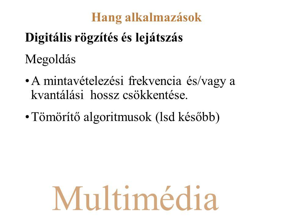 Multimédia Digitális rögzítés és lejátszás Megoldás A mintavételezési frekvencia és/vagy a kvantálási hossz csökkentése. Tömörítő algoritmusok (lsd ké