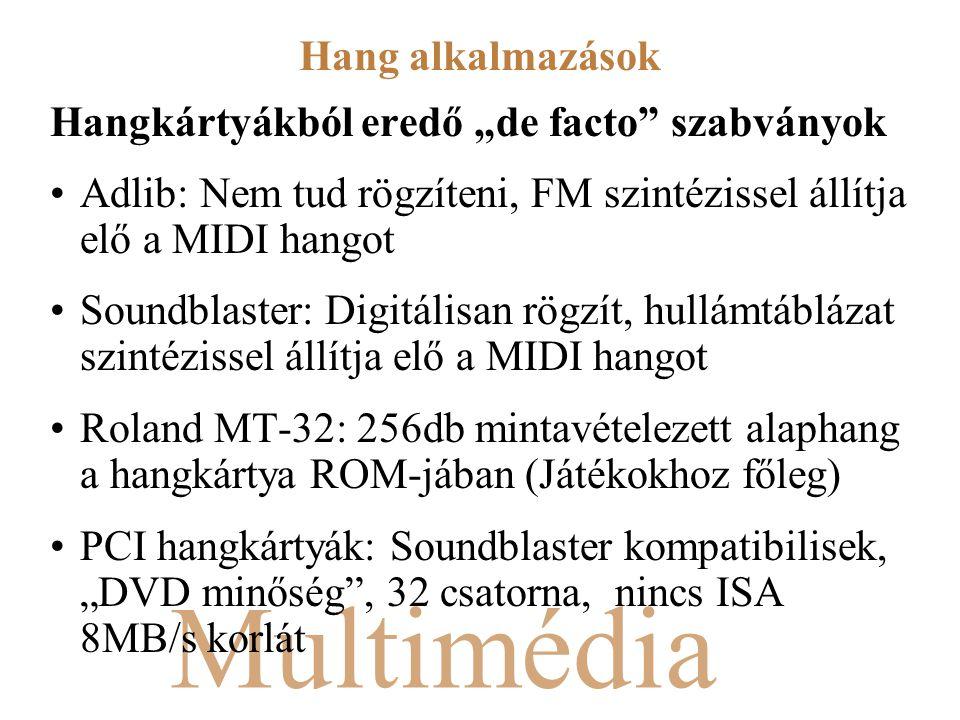 """Multimédia Hangkártyákból eredő """"de facto szabványok Adlib: Nem tud rögzíteni, FM szintézissel állítja elő a MIDI hangot Soundblaster: Digitálisan rögzít, hullámtáblázat szintézissel állítja elő a MIDI hangot Roland MT-32: 256db mintavételezett alaphang a hangkártya ROM-jában (Játékokhoz főleg) PCI hangkártyák: Soundblaster kompatibilisek, """"DVD minőség , 32 csatorna, nincs ISA 8MB/s korlát Hang alkalmazások"""