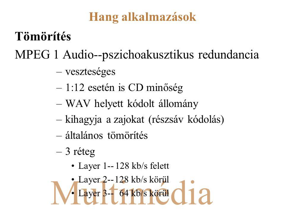 Multimédia Tömörítés MPEG 1 Audio--pszichoakusztikus redundancia –veszteséges –1:12 esetén is CD minőség –WAV helyett kódolt állomány –kihagyja a zajokat (részsáv kódolás) –általános tömörítés –3 réteg Layer 1--128 kb/s felett Layer 2--128 kb/s körül Layer 3-- 64 kb/s körül Hang alkalmazások