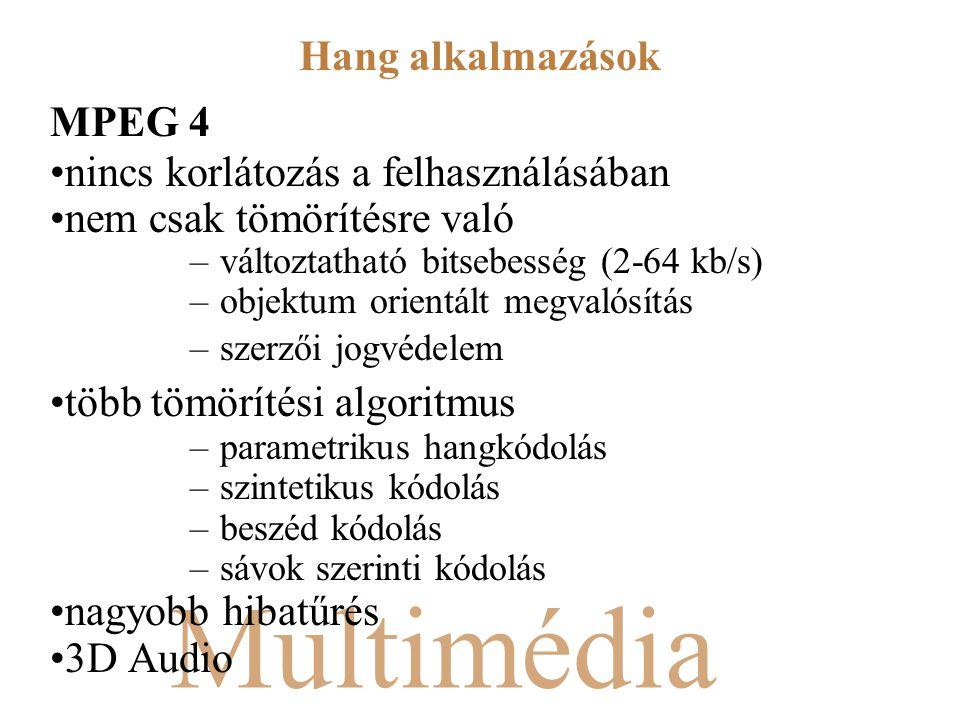 Multimédia MPEG 4 nincs korlátozás a felhasználásában nem csak tömörítésre való –változtatható bitsebesség (2-64 kb/s) –objektum orientált megvalósítás –szerzői jogvédelem több tömörítési algoritmus –parametrikus hangkódolás –szintetikus kódolás –beszéd kódolás –sávok szerinti kódolás nagyobb hibatűrés 3D Audio Hang alkalmazások