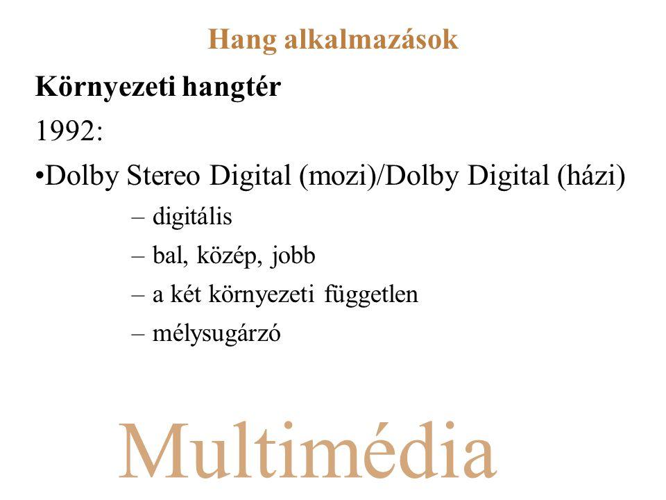 Multimédia Környezeti hangtér 1992: Dolby Stereo Digital (mozi)/Dolby Digital (házi) –digitális –bal, közép, jobb –a két környezeti független –mélysugárzó Hang alkalmazások