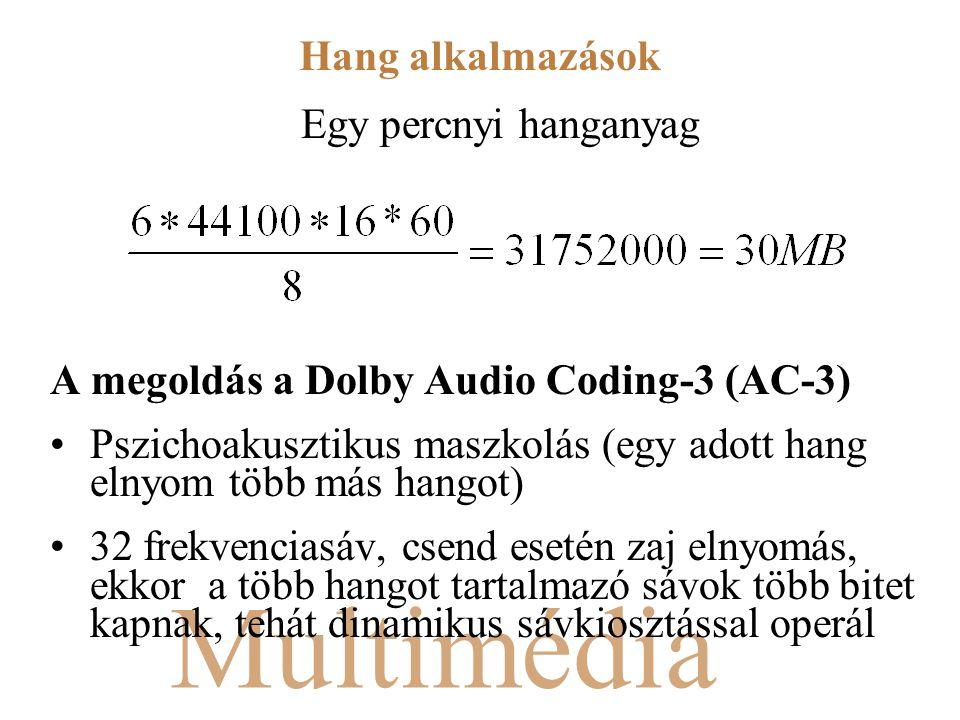 Multimédia Egy percnyi hanganyag A megoldás a Dolby Audio Coding-3 (AC-3) Pszichoakusztikus maszkolás (egy adott hang elnyom több más hangot) 32 frekvenciasáv, csend esetén zaj elnyomás, ekkor a több hangot tartalmazó sávok több bitet kapnak, tehát dinamikus sávkiosztással operál Hang alkalmazások