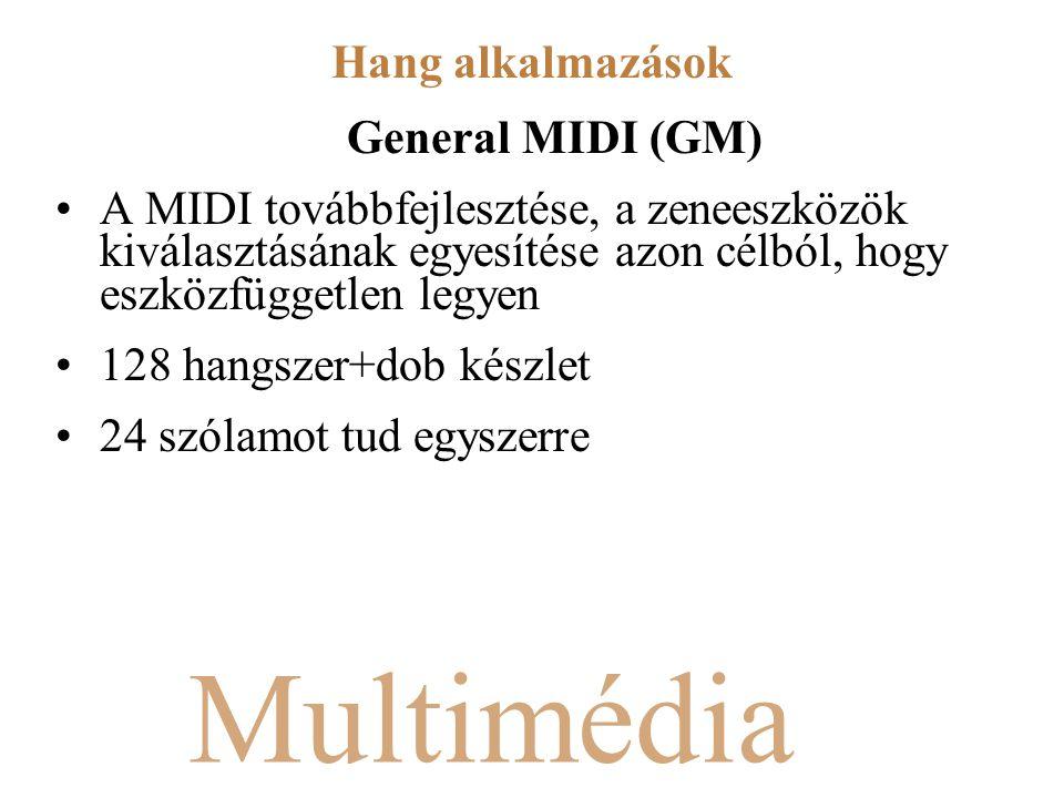 Multimédia General MIDI (GM) A MIDI továbbfejlesztése, a zeneeszközök kiválasztásának egyesítése azon célból, hogy eszközfüggetlen legyen 128 hangszer+dob készlet 24 szólamot tud egyszerre Hang alkalmazások