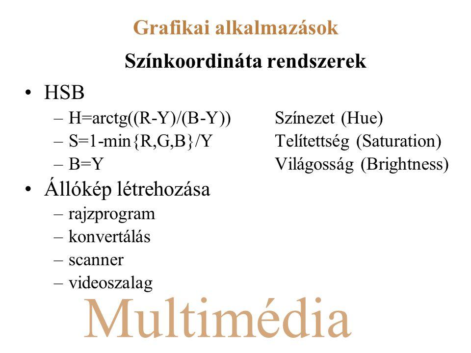 Multimédia Színkoordináta rendszerek HSB –H=arctg((R-Y)/(B-Y))Színezet (Hue) –S=1-min{R,G,B}/YTelítettség (Saturation) –B=Y Világosság (Brightness) Állókép létrehozása –rajzprogram –konvertálás –scanner –videoszalag Grafikai alkalmazások