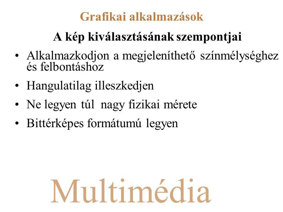Multimédia A kép kiválasztásának szempontjai Alkalmazkodjon a megjeleníthető színmélységhez és felbontáshoz Hangulatilag illeszkedjen Ne legyen túl nagy fizikai mérete Bittérképes formátumú legyen Grafikai alkalmazások
