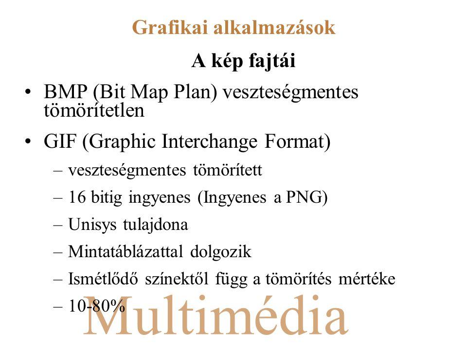 Multimédia A kép fajtái BMP (Bit Map Plan) veszteségmentes tömörítetlen GIF (Graphic Interchange Format) –veszteségmentes tömörített –16 bitig ingyenes (Ingyenes a PNG) –Unisys tulajdona –Mintatáblázattal dolgozik –Ismétlődő színektől függ a tömörítés mértéke –10-80% Grafikai alkalmazások