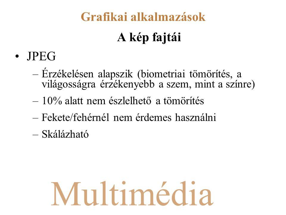 Multimédia A kép fajtái JPEG –Érzékelésen alapszik (biometriai tömörítés, a világosságra érzékenyebb a szem, mint a színre) –10% alatt nem észlelhető a tömörítés –Fekete/fehérnél nem érdemes használni –Skálázható Grafikai alkalmazások