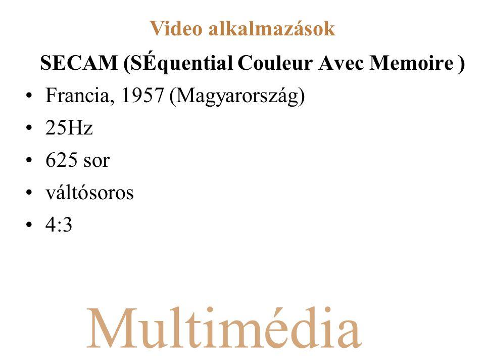 Multimédia SECAM (SÉquential Couleur Avec Memoire ) Francia, 1957 (Magyarország) 25Hz 625 sor váltósoros 4:3 Video alkalmazások