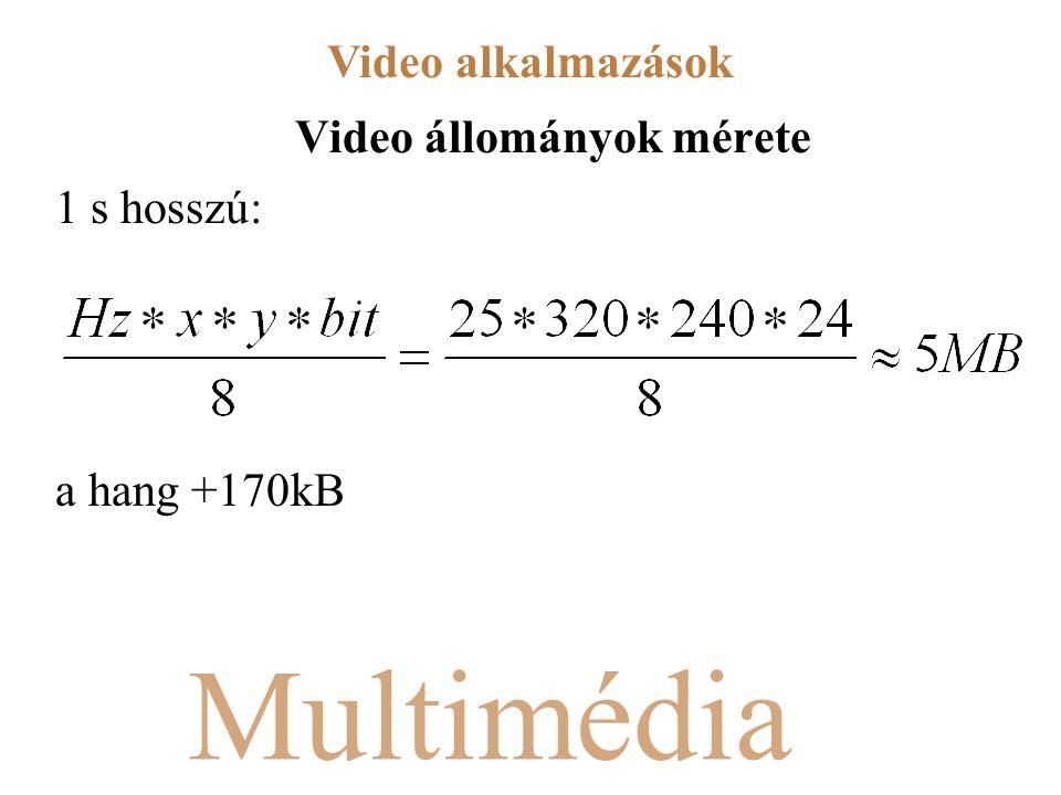 Multimédia Video állományok mérete 1 s hosszú: a hang +170kB Video alkalmazások