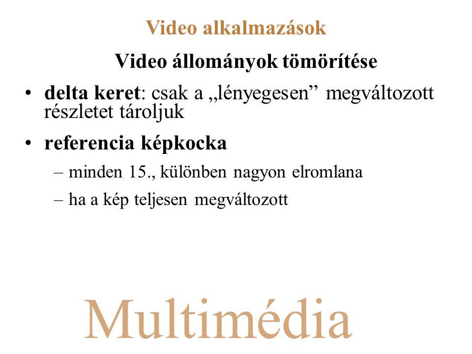 """Multimédia Video állományok tömörítése delta keret: csak a """"lényegesen megváltozott részletet tároljuk referencia képkocka –minden 15., különben nagyon elromlana –ha a kép teljesen megváltozott Video alkalmazások"""