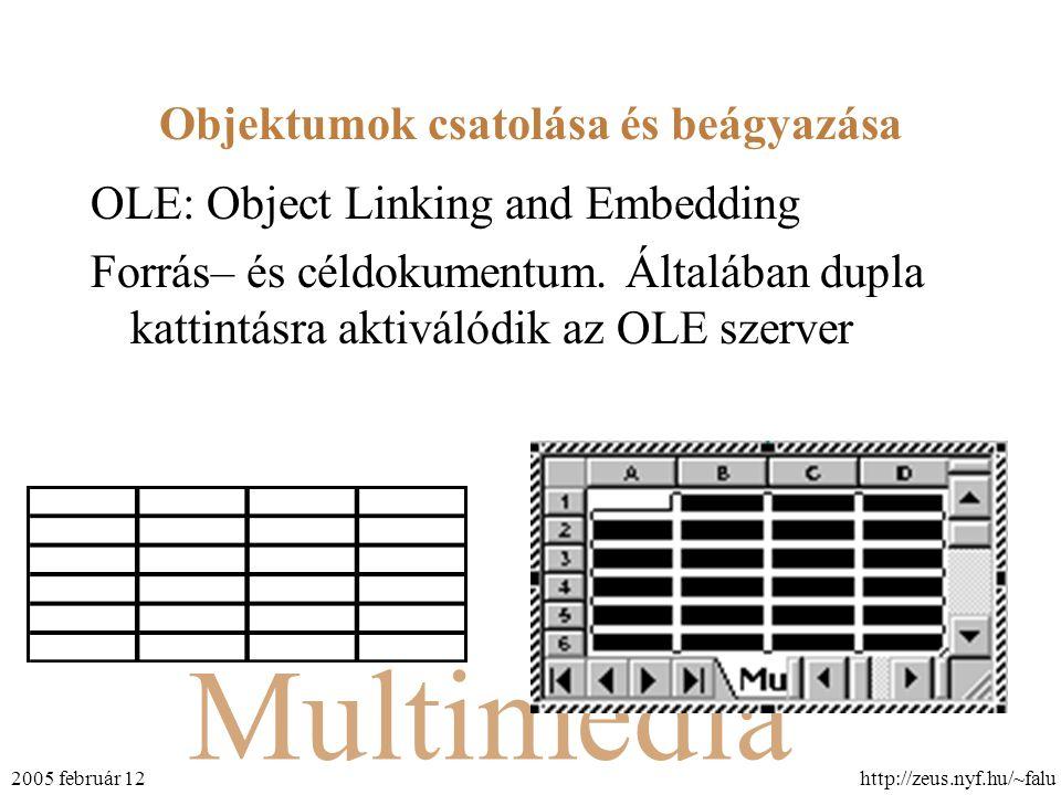 Multimédia http://zeus.nyf.hu/~falu2005 február 12 Objektumok csatolása és beágyazása OLE: Object Linking and Embedding Forrás– és céldokumentum. Álta