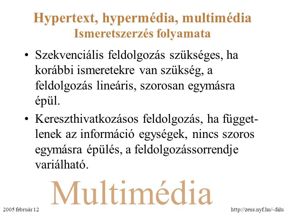 Multimédia Hypertext, hypermédia, multimédia http://zeus.nyf.hu/~falu2005 február 12 Ismeretszerzés folyamata Szekvenciális feldolgozás szükséges, ha