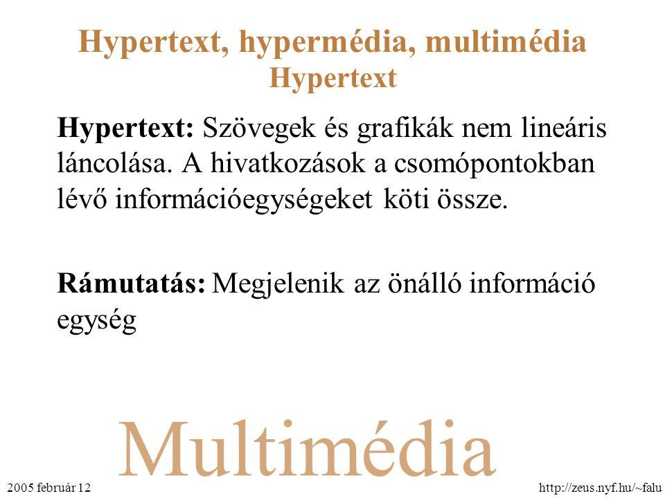 Multimédia Hypertext, hypermédia, multimédia http://zeus.nyf.hu/~falu2005 február 12 Hypertext Hypertext: Szövegek és grafikák nem lineáris láncolása.