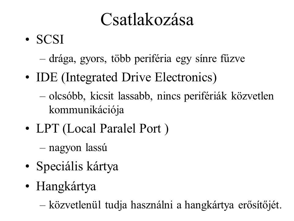 Csatlakozása SCSI –drága, gyors, több periféria egy sínre fűzve IDE (Integrated Drive Electronics) –olcsóbb, kicsit lassabb, nincs perifériák közvetlen kommunikációja LPT (Local Paralel Port ) –nagyon lassú Speciális kártya Hangkártya –közvetlenül tudja használni a hangkártya erősítőjét.