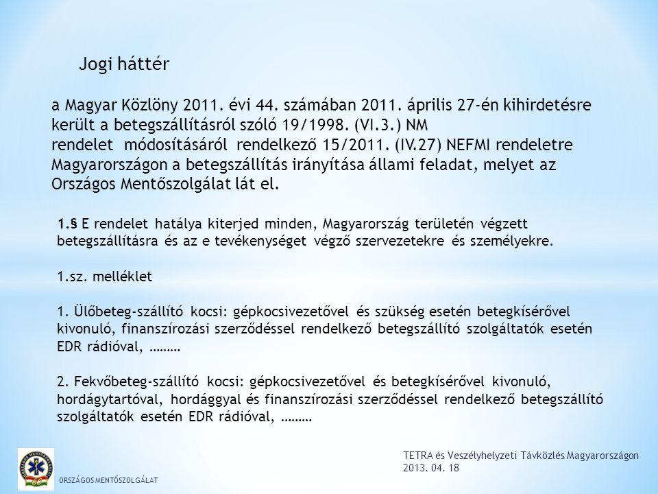 ORSZÁGOS MENTŐSZOLGÁLAT a Magyar Közlöny 2011. évi 44. számában 2011. április 27-én kihirdetésre került a betegszállításról szóló 19/1998. (VI.3.) NM