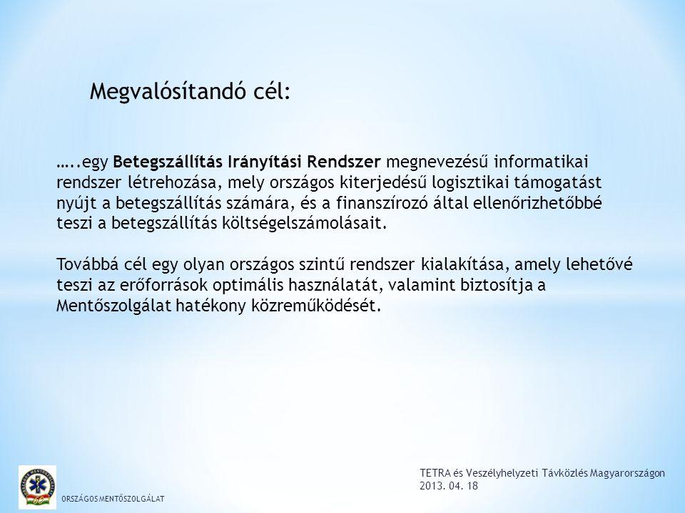 TETRA és Veszélyhelyzeti Távközlés Magyarországon 2013. 04. 18 ORSZÁGOS MENTŐSZOLGÁLAT …..egy Betegszállítás Irányítási Rendszer megnevezésű informati