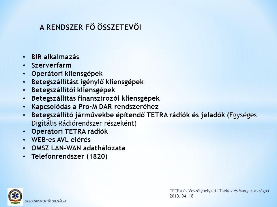 TETRA és Veszélyhelyzeti Távközlés Magyarországon 2013. 04. 18 ORSZÁGOS MENTŐSZOLGÁLAT BIR alkalmazás Szerverfarm Operátori kliensgépek Betegszállítás