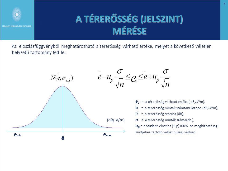 7 e v = a térerősség várható értéke ( dB  V/m), ē = a térerősség minták számtani közepe (dB  V/m),  = a térerősség szórása (dB), n = a térerősség m