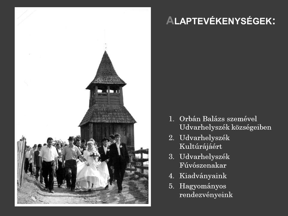 1.Orbán Balázs szemével Udvarhelyszék községeiben 2.Udvarhelyszék Kultúrájáért 3.Udvarhelyszék Fúvószenakar 4.Kiadványaink 5.Hagyományos rendezvényeink A LAPTEVÉKENYSÉGEK :