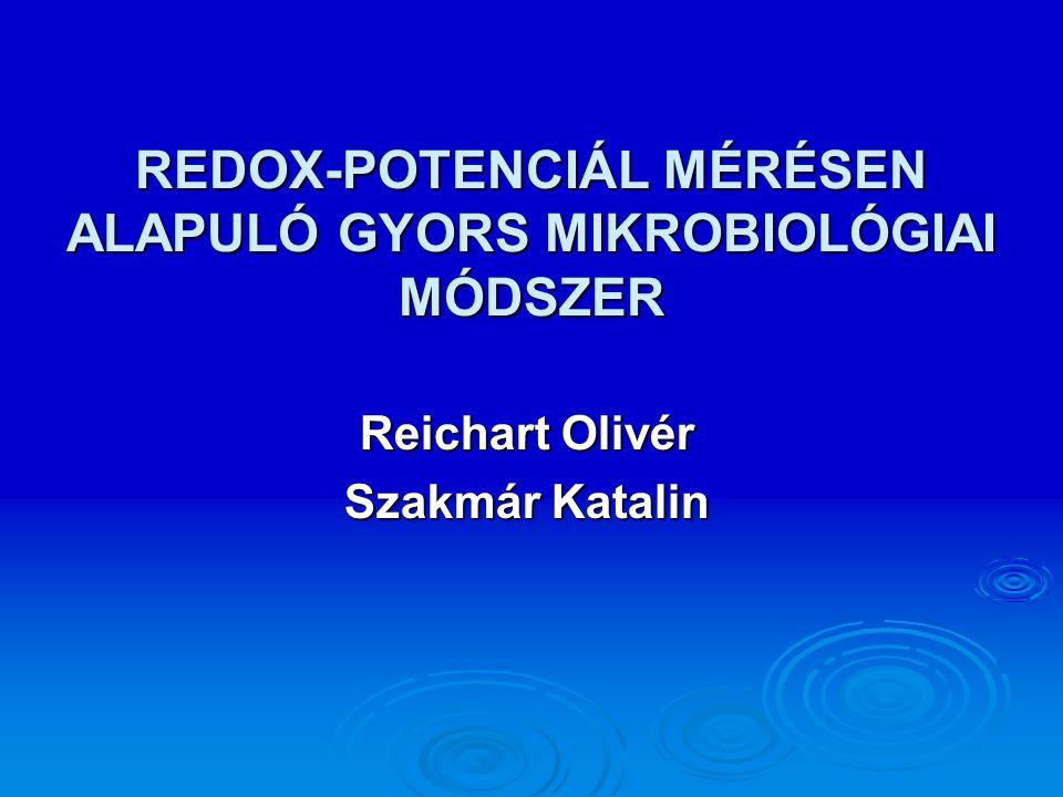 REDOX-POTENCIÁL MÉRÉSEN ALAPULÓ GYORS MIKROBIOLÓGIAI MÓDSZER Reichart Olivér Szakmár Katalin