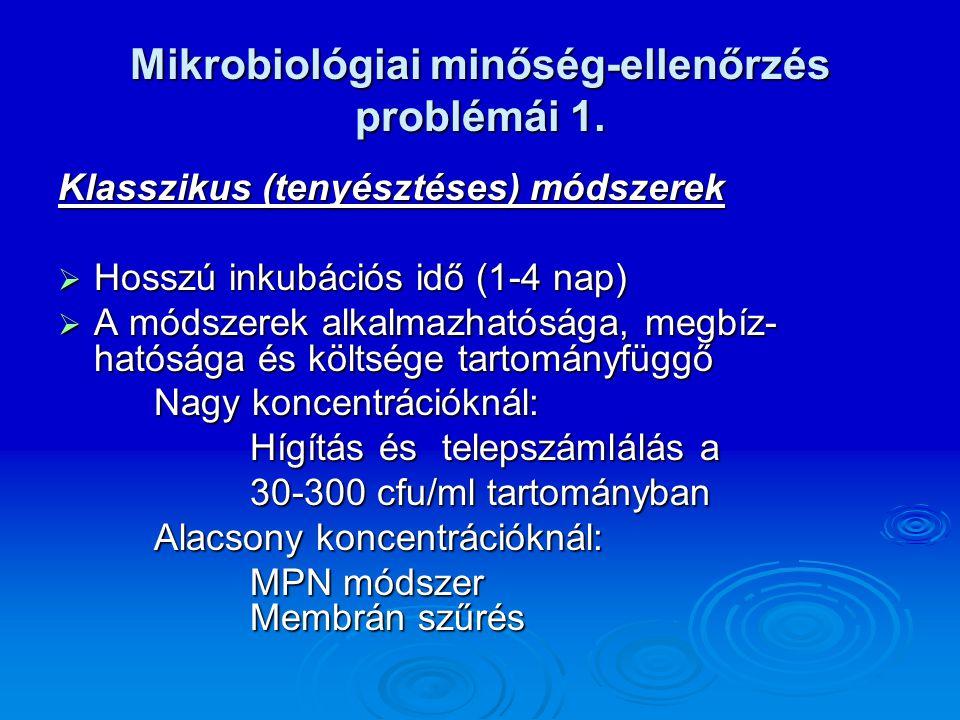Mikrobiológiai minőség-ellenőrzés problémái 1. Klasszikus (tenyésztéses) módszerek  Hosszú inkubációs idő (1-4 nap)  A módszerek alkalmazhatósága, m