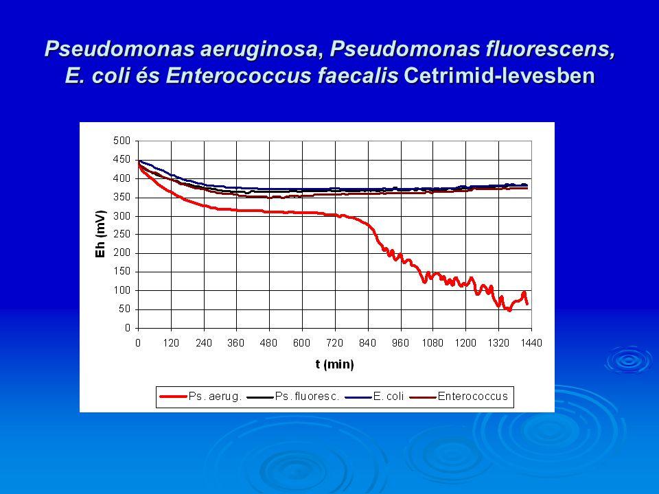 Pseudomonas aeruginosa, Pseudomonas fluorescens, E. coli és Enterococcus faecalis Cetrimid-levesben