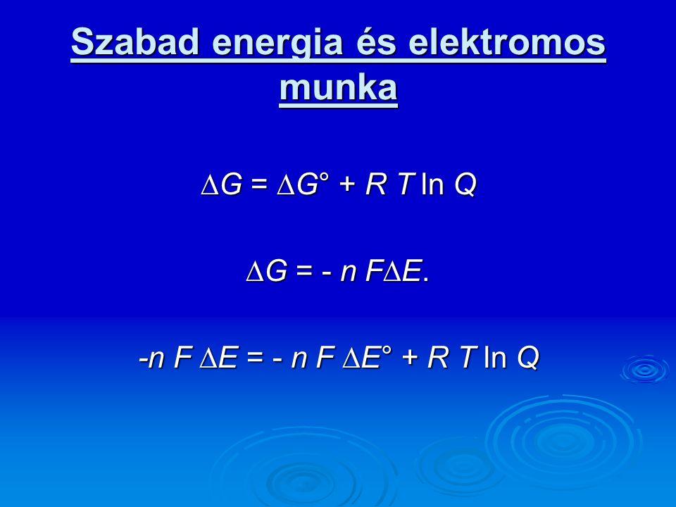 Szabad energia és elektromos munka  G =  G° + R T ln Q  G = - n F  E. -n F  E = - n F  E° + R T ln Q