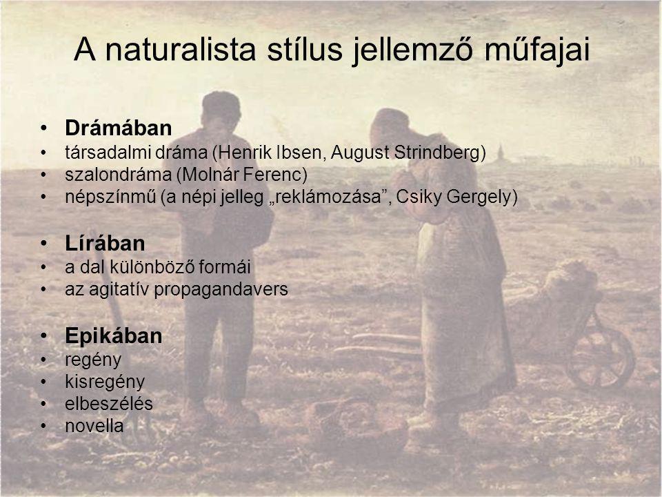 A naturalista stílus jellemző műfajai Drámában társadalmi dráma (Henrik Ibsen, August Strindberg) szalondráma (Molnár Ferenc) népszínmű (a népi jelleg