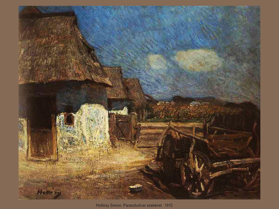 Hollósy Simon, Parasztudvar szekérrel, 1912