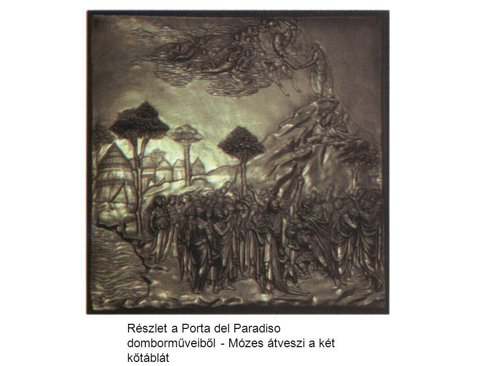 Részlet a Porta del Paradiso domborműveiből - Mózes átveszi a két kőtáblát