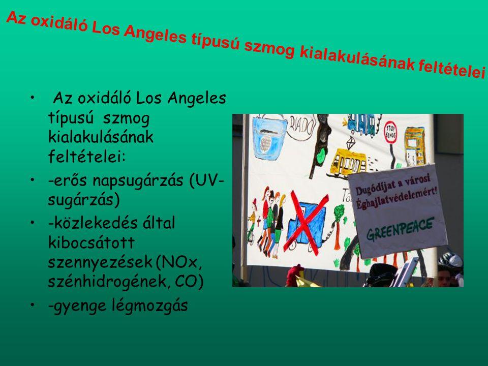 Az oxidáló Los Angeles típusú szmog kialakulásának feltételei: -erős napsugárzás (UV- sugárzás) -közlekedés által kibocsátott szennyezések (NOx, szénh