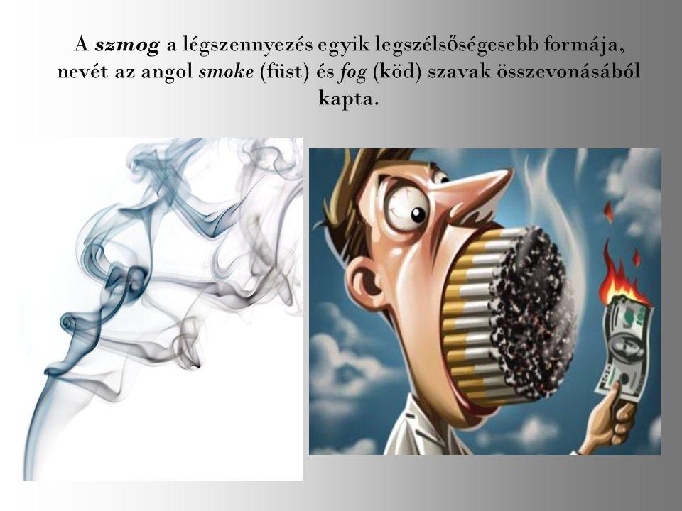 A szmog a légszennyezés egyik legszéls ő ségesebb formája, nevét az angol smoke (füst) és fog (köd) szavak összevonásából kapta.