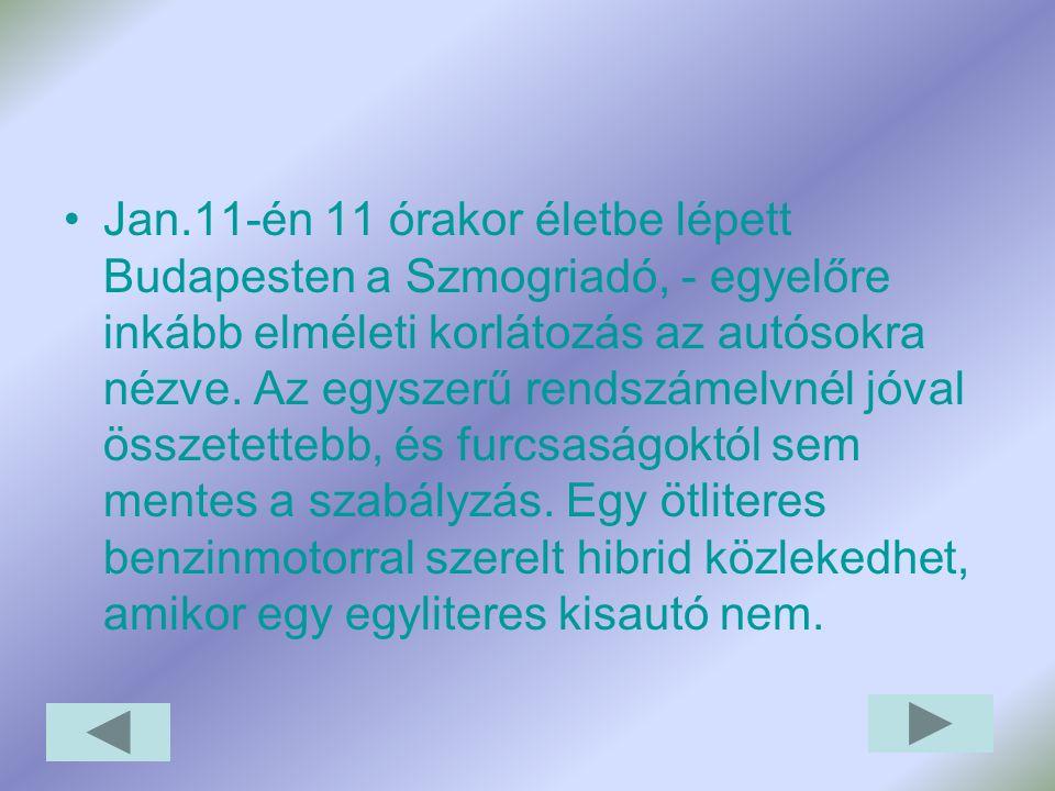 Jan.11-én 11 órakor életbe lépett Budapesten a Szmogriadó, - egyelőre inkább elméleti korlátozás az autósokra nézve.