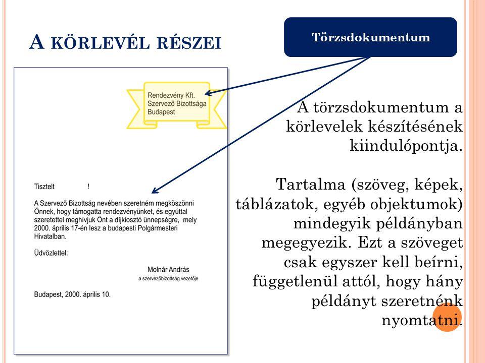 Törzsdokumentum A KÖRLEVÉL RÉSZEI A törzsdokumentum a körlevelek készítésének kiindulópontja.