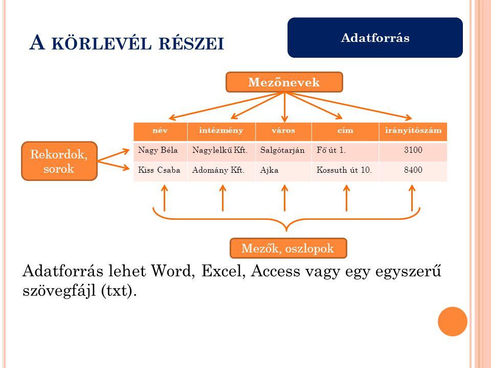 Adatforrás A KÖRLEVÉL RÉSZEI névintézményvároscímirányítószám Nagy BélaNagylelkű Kft.SalgótarjánFő út 1.3100 Kiss CsabaAdomány Kft.AjkaKossuth út 10.8400 Adatforrás lehet Word, Excel, Access vagy egy egyszerű szövegfájl (txt).
